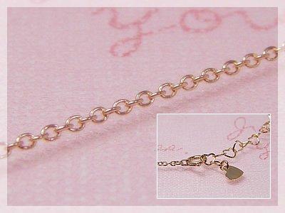 画像1: 丸アズキネックレス:ハートプレート(長さ45cm:幅1.1mm)/ピンクゴールドK10