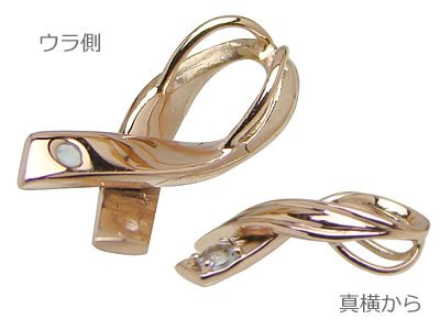 画像2: リボンの天然誕生石ペンダントネックレス/ピンクゴールド[ペリドット]※ネックレスチェーン付き