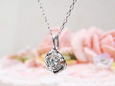 画像1: ローズ(薔薇)天然誕生石ペンダント/K10ホワイトゴールド[アクアマリン]※ネックレスチェーンは別売りです