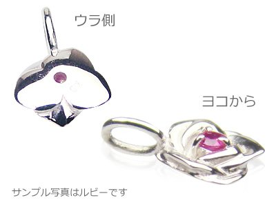 画像2: ローズ(薔薇)天然誕生石ペンダント/K10ホワイトゴールド[ピンクトルマリン]※ネックレスチェーン付き
