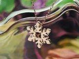 スノー(雪の結晶)天然誕生石ペンダント/K10ピンクゴールド[ガーネット]※ネックレスチェーン付き