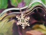 【送料無料】スノー(雪の結晶)天然誕生石ペンダント/K10ピンクゴールド[ペリドット]※ネックレスチェーン付き