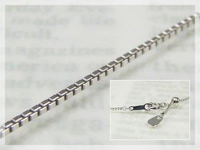 画像1: ベネチアネックレス:スライド調整式(長さ50cm:幅0.7mm)/ホワイトゴールドK18